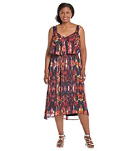 Black Rainn™ Plus Size High-Low Hem Printed Dress