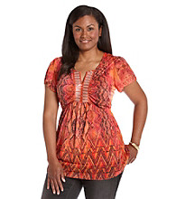 Oneworld® Plus Size Embellished Top with Beading