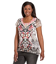Oneworld® Plus Size Chiffon Hem Scoopneck Embellished Top