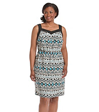 AGB® Plus Size Print Woven Dress