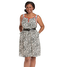 AGB® Plus Size Tank Dress with Contrast Trim