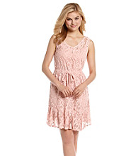 Be Bop Juniors' Pink Lace V-Neck Dress
