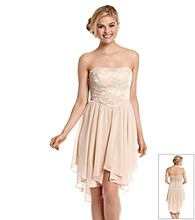 Bee Darlin' Juniors' Strapless Lace Chiffon High-Low Party Dress