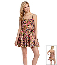 XOXO® Juniors' Floral Print Sweetheart Dress