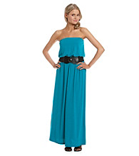 Belle du Jour Juniors' Strapless Belted Maxi Dress