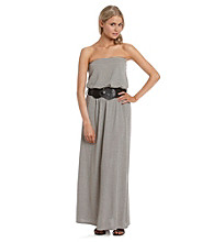 Belle du Jour Juniors' Striped Belted Maxi Dress