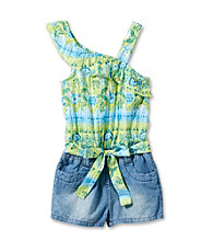 Squeeze® Girls' 4-6X Blue/Green One Shoulder Denim Ruffle Romper