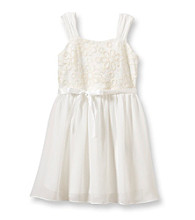 Amy Byer Girls' 4-6X Ivory Sleeveless Lace Bodice Dress