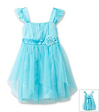 Amy Byer Girls' 4-6X Aqua Flutter Sleeve Empire Waist Dress