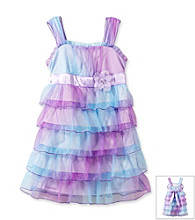 Amy Byer Girls' 4-6X Purple/Blue Ombre Empire Waist Tiered Ruffle Dress