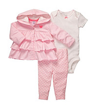 Carter's® Baby Girls' Pink 3-pc. Ruffle Hoodie Set