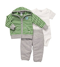 Carter's® Baby Boys' Heather Grey/Green Striped 3-pc. Cardigan Set