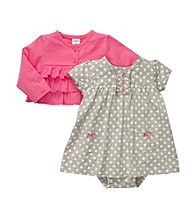 Carter's® Baby Girls' Heather Grey/Pink 2-pc. Polka-Dot Dress Set