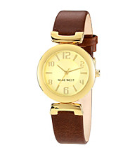 Nine West® Women's Brown Smooth Strap Watch