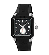 Vince Camuto™ Men's Black Silvertone Resin Strap Watch