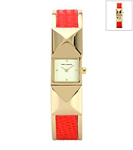 Vince Camuto™ Women's Red/Goldtone Covered Bangle Watch