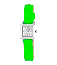 Vince Camuto™ Women's Green Neon Leather Strap Watch