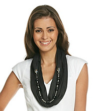 Basha Black Loop Jewelry Scarf