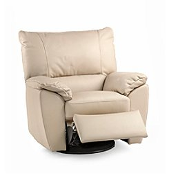 Natuzzi Editions® Trento Taupe Leather Swivel Recliner Armchair
