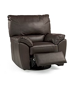 Natuzzi Editions® Trento Brown Leather Swivel Recliner Armchair