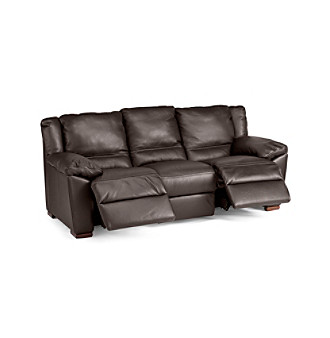 450100012623 Natuzzi Editions Genoa Brown Leather Reclining Sofa