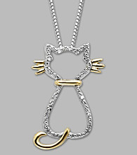 .03 ct. t.w. Diamond Cat Pendant with Stainless Steel and 14K Gold