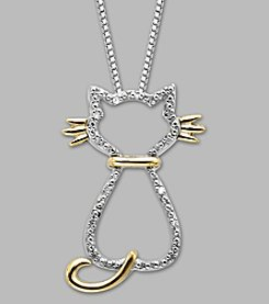 .03 ct. t.w. Diamond Cat Pendant with Sterling Silver and 14K Gold