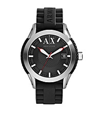 A|X Armani Exchange Men's Stainless Steel Round Watch with Black Band