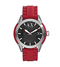 A|X Armani Exchange Men's Stainless Steel Round Watch with Red Band
