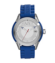 A|X Armani Exchange Men's Stainless Steel Round Watch with Blue Band