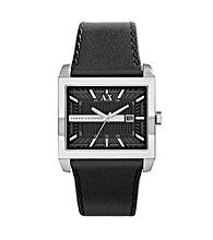 A|X Armani Exchange Men's Stainless Steel East West Watch with Black Leather Strap