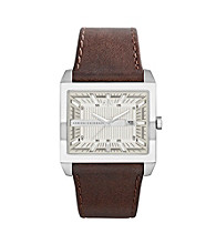 A|X Armani Exchange Men's Stainless Steel East West Watch with Brown Leather Strap