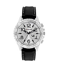Unlisted by Kenneth Cole® Men's Round Silvertone Watch with Black Strap