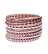 L&J Accessories Multi Row Pink and Silver Bangles