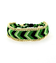 Vince Camuto® Goldtone and Green Friendship Bracelet