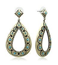 Jill Zarin Morocco Collection Cut Out Drop Hoop Earrings