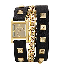 Vince Camuto™ Women's Goldtone/Black Leather Wrap-Around Watch