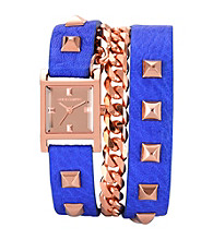Vince Camuto™ Women's Rose Goldtone/Blue Leather Wrap Around