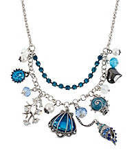 Betsey Johnson® Sea Shell Multi Charm Frontal Necklace