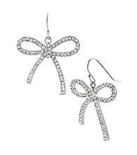 Betsey Johnson® Crystal Bow Drop Earrings