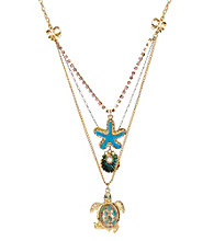Betsey Johnson® Turtle Three Row Necklace
