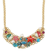 Betsey Johnson® Crab Multi Charm Frontal Necklace