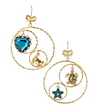 Betsey Johnson® Turtle & Crystal Heart Gypsy Hoop Earrings