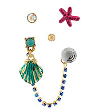 Betsey Johnson® Sea Shell & Starfish 5-Stud Earrings Set