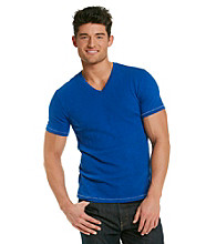 Calvin Klein Jeans® Men's Kinetic Blue Slub V-Neck Tee
