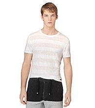 Calvin Klein Jeans® Men's White Short Sleeve Burnout Striped Tee