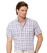 Nautica® Men's Pastel Lilac Short Sleeve Plaid Shirt