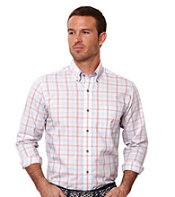 Nautica® Men's Bright White Long Sleeve Plaid Shirt