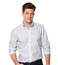 Nautica® Men's Fin Green Long Sleeve Mini Stripe Shirt