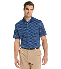 PGA TOUR® Men's Sodalite Blue Short Sleeve Argyle Jaquard Polo